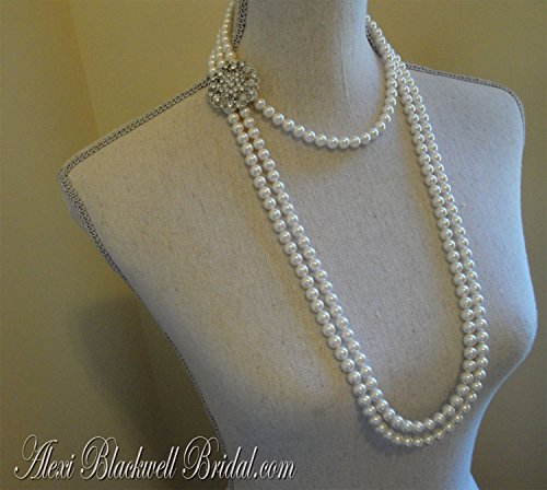 Long Pearl Flapper Necklace with Backdrop and Brooch Art Deco Great Gatsby style wedding jewelry set 3 multi strands White or Ivory Swarovski Pearls by Alexi Blackwell Bridal