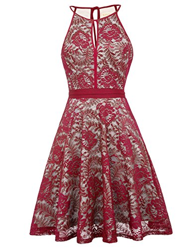 Women Formal Homecoming Weddding Lace Dress Medium, Wine from Kate Kasin