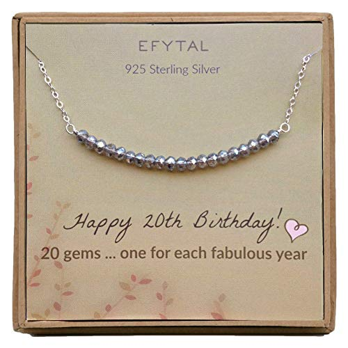 EFYTAL 20th Birthday Gifts for Girls, Sterling Silver Necklace, 20 Beads for 20 Year Old Girl, Jewelry Gift Idea