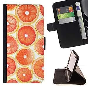 GIFT CHOICE / Billetera de cuero Estuche protector Cáscara Funda Caja de la carpeta Cubierta Caso / Wallet Case for LG G2 D800 // Grapefruit Blood Orange Slice //