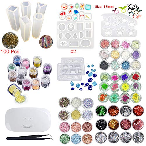 Eagle Gemstone - INNICON 9* Silicone Muolds 60x Sequins Set For Professional Making Decoration Sets Jewelry & Cosmetic Earrings 100 Screws Eye Pins Necklaces Gemstone Ring With Eagle UV Lamp