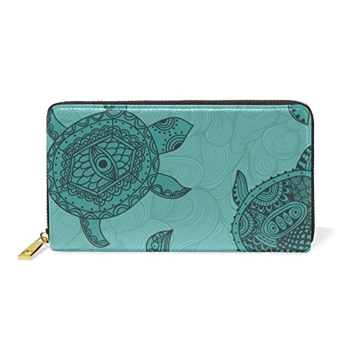 Women Sea Turtle Wallet Hulahula Genuine Leather Zipper Purse for Phone Girl Men by Hulahula