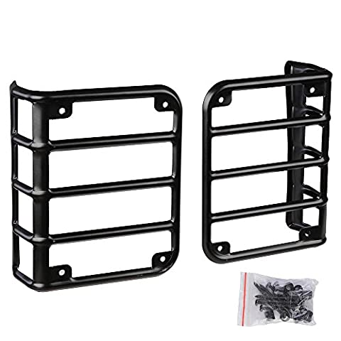 Yescom Black 1 Pair of Rear Euro Tail Light Guards for 2007-2016 Jeep Wrangler JK Car Vehicle Parts (2013 Jeep Parts)