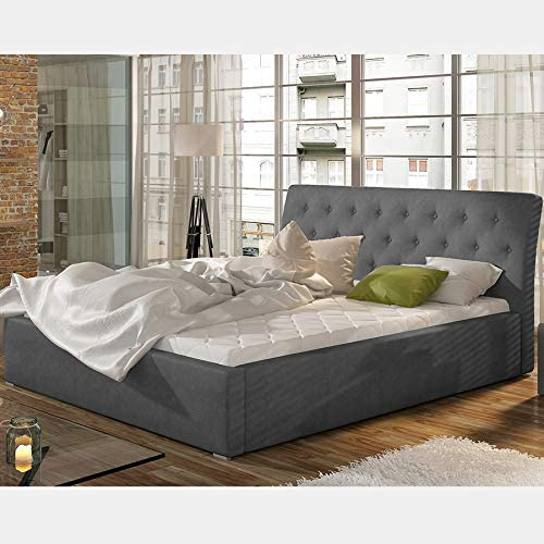 Cama gris con somier de 180 x 200 cm Milas: Amazon.es: Hogar