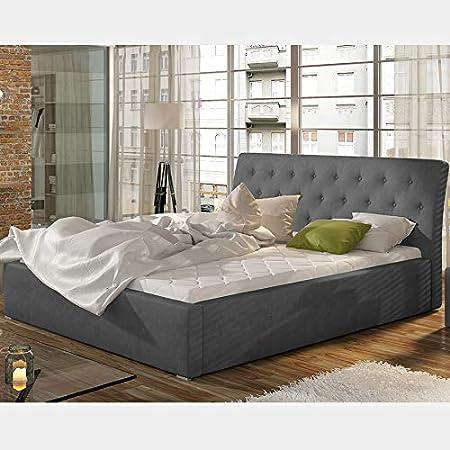 Cama con somier 200 x 200 cm, gris MILAS: Amazon.es: Hogar