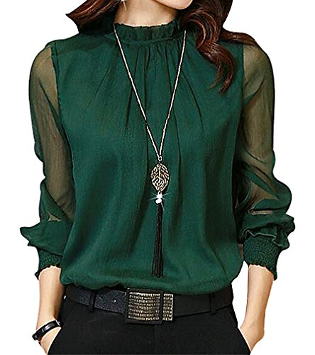 US&R Women's Spandex Polyester Long Mesh Sleeve Stand Ruffle Collar Blouse, Green ()