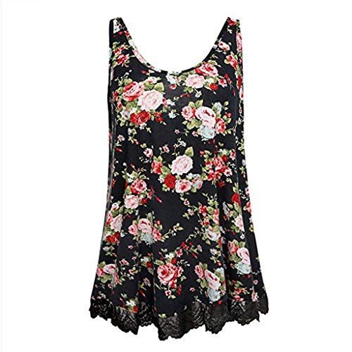 - Sanyyanlsy Women's Summer Casual Floral Print Lace Border Hem Pleated Sleeveless O-Neck Tank Tops Vest Casual T-Shirt