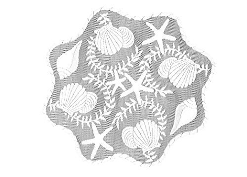 Heritage Lace Tidepool Round Doily, 20-Inch, White, Set of 2