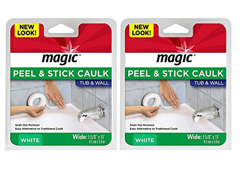 """Magic Tub and Wall Peel & Caulk Strip - Create a Tight Seal Between The Bathtub and Wall to Keep Moisture Out - 1-5/8"""" by 11' - White"""