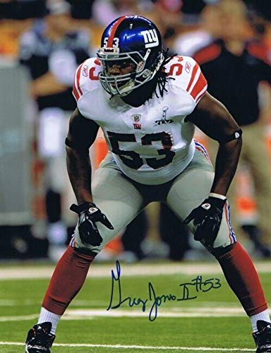 Signed Greg Jones Photo - 8x10 Giants SB XLVI - Autographed NFL Photos