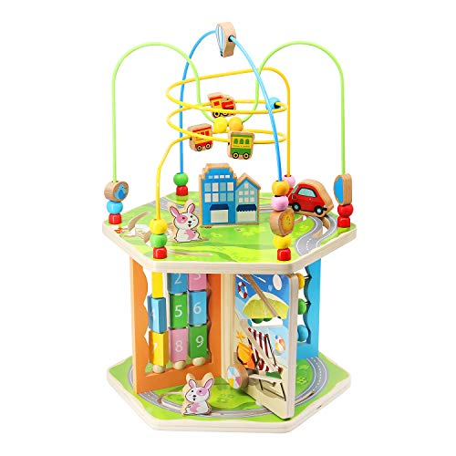 KAJA Wooden Bead Maze Baby Activity Play Cube 7 in 1 Activit