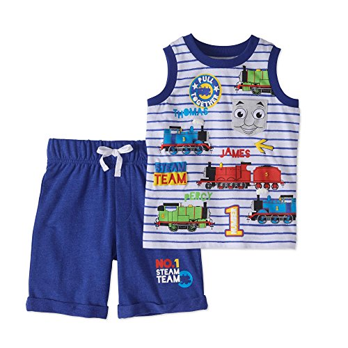Thomas The Train Toddler Little Boys Tank and French Terry Shorts 2-Piece Outfit Set (Blue, 5T) (Thomas Train Outfit)