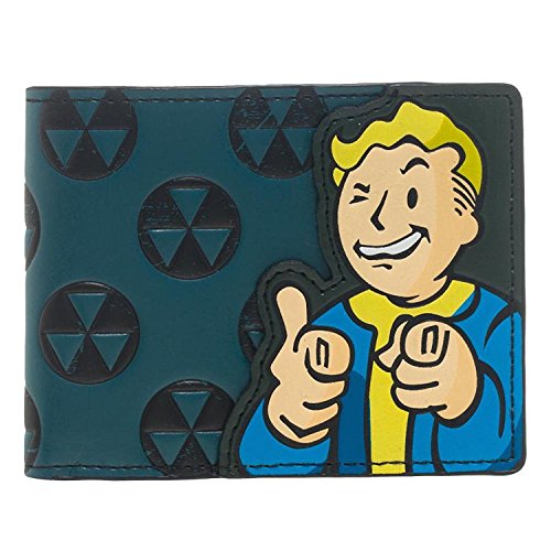 [Bethesda Fallout 4 Vault Boy Appliqué With Embossing Bi Fold Wallet Costume Accessory] (Game Wallet)