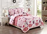Fancy Linen 4pc Full/Queen Bedspread Set Teens/Girls Paris Eiffel Tower Hearts Pink Grey New # Paris