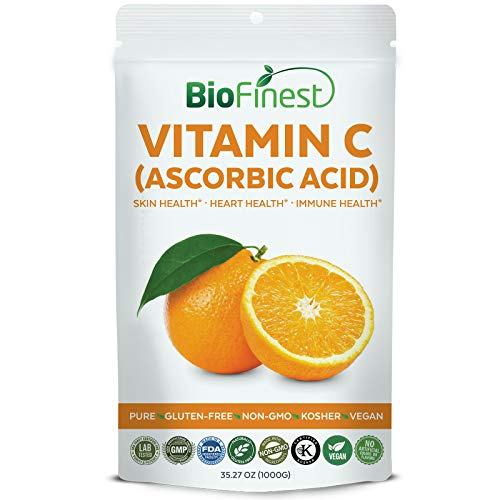Biofinest Vitamin C (Ascorbic Acid) Powder 1000mg - Pure Gluten-Free Non-GMO Kosher Vegan Friendly - Supplement for Healthy Skin, Eyesight, Heart, Immune System, Mood Enhancement (1000g)