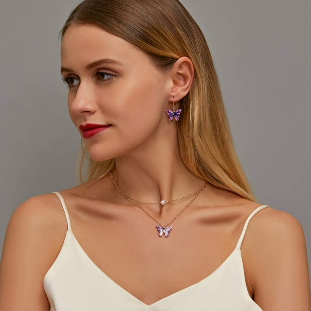 Prosperveil Parure de Bijoux Collier 2 et Boucle doreil avec Pendentif Papillon Colliers Perle pour Femmes Filles