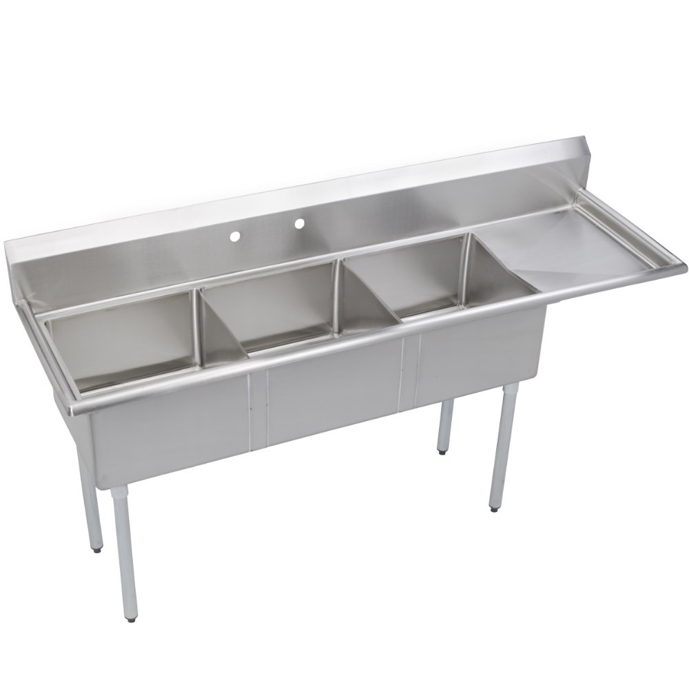 Fenix Sol 18G-3C10X14-R12 Three Compartment Stainless Steel Sink, Bowl: 10''L x 14''W x 10''D, Overall Size: 44.5''L x 19.8''W x 43''H, 1 x 12'' Right Drainboard, Galv Legs