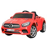 Uenjoy 12V Licensed Mercedes-Benz SL500 Kids Ride On Car Single Seat Electric Cars for Kids w/Remote Control & Music & Spring Suspension & Safety Lock Red