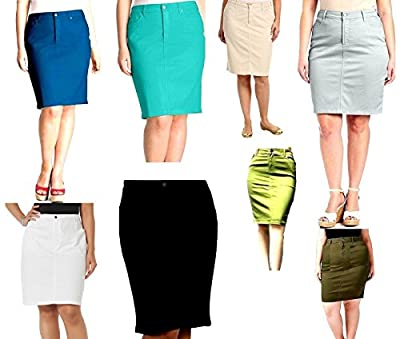 Jack david Womens Plus Size Stretch 24'' Length Casual Twill Cotton Skirt A500