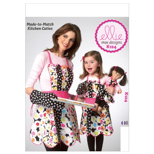 KWIK-SEW PATTERNS K0124 Adult/Children Doll Aprons and Mitt Sewing Template, 18-Inch ()