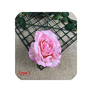 5Pcs Silk Artificial Flower Heads Flower Wall Making Backdrop Floral DIY Craft Wedding Decoration Rose Flores artificiales,I Type 1,Flower Head only 67