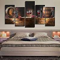 Bolange 5 Pezzi/Set di Dipinti su Tela Vintage Parete Pittura, Vino Rosso Bottiglia di Vino in Vetro Forma Decalcomanie Decorazione della casa