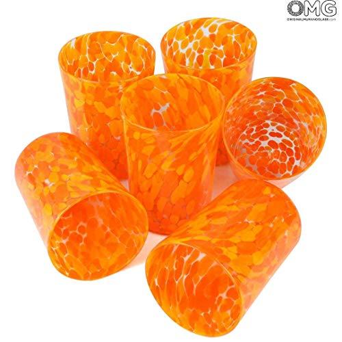 - Original Murano Glass OMG Set of 6 Drinking Glasses Orange Limoncello - Original Murano Glass