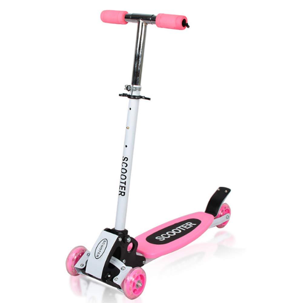 卸売 キックスクーター三輪車スケートボードペダル式乗用スタントスクーター最初のスクーター折りたたみTバーハンドルLEDライトアップホイール付き調節可能な B07H83DV98 Pink Pink B07H83DV98 Pink, ボブアンテナ:71ebc5c9 --- a0267596.xsph.ru