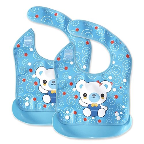 Waterproof Baby Feeding Bibs with Wide Pocket for Boys and Girls-Make Mealtime Easier&Less Messy-2 Set (Blue)