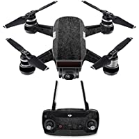 Skin for DJI Spark Mini Drone Combo - Black Leather| MightySkins Protective, Durable, and Unique Vinyl Decal wrap cover | Easy To Apply, Remove, and Change Styles | Made in the USA