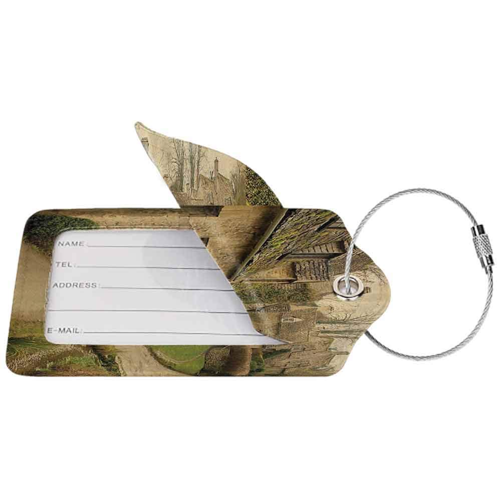 Soft luggage tag Farm House Decor British Town with Stone Houses Retro England Countryside Buildings Image Bendable Grey Green W2.7 x L4.6