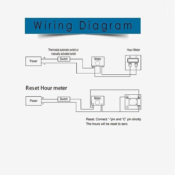 amazon com searon 12v 24v 36v 48v 60v 72v digital round engine hour rh amazon com curtis hour meter wiring diagram kilowatt hour meter wiring diagram