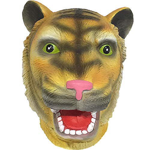 QIAO Halloween Props Animal Mask Decoration Tiger Mask Cosplay Party Tidy Latex Props Costume Ball Headgear (Color : A) -