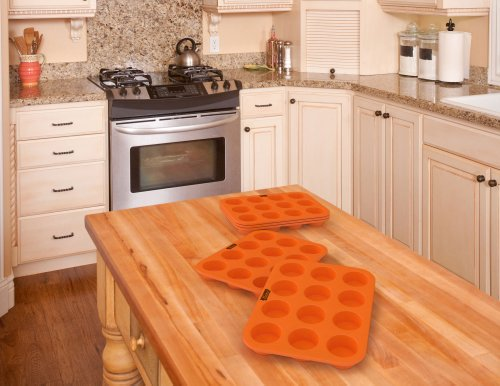 Silicone Muffin Cupcake Baking Pan Tray - Standard Size - 12 Cups - 100% Pure Food Grade Non-Stick Silicone - Orange - Bake Like a Professional by Belgoods Bakeware (Image #2)