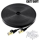 Cat7 Ethernet Cable 50 FT Black, Intelart Cat-7 Flat RJ45 Computer Internet Lan Network Ethernet Patch Cable Cord - 50 Feet