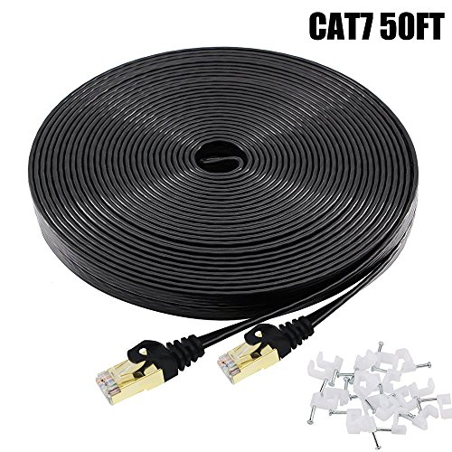 Cat7 Ethernet Cable 50 FT Black, BUSOHE Cat-7 Flat RJ45 Computer Internet LAN Network Ethernet Patch Cable Cord - 50 Feet