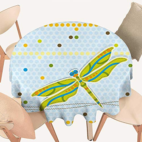 (haommhome Dragonfly Circular Table Cover Dragonfly Figure Over Little Circular Spots and Dots Kids Cartoon Round Tablecloth D 50