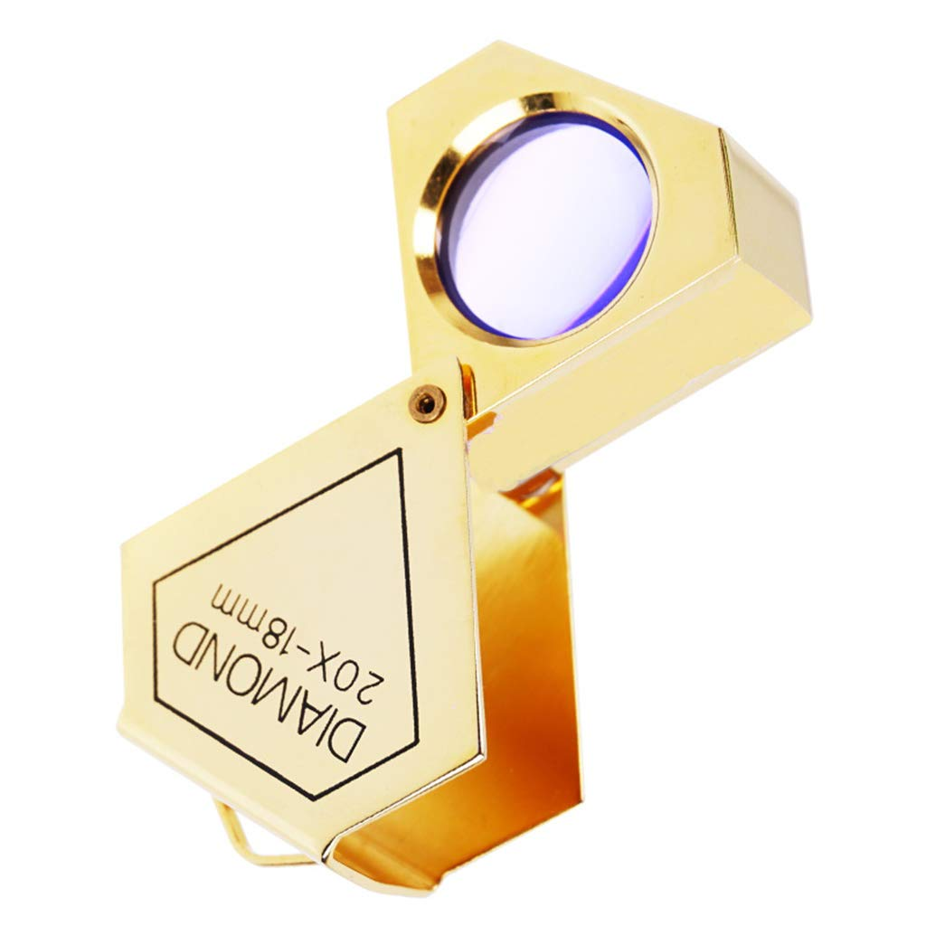 20X Lens Jewelry Magnifier Scope flip to Side,Glasses for Close Work?Gold? Pocket Microscope Magnifying Jewelers Eye Loupe ?Folding Brass Cover