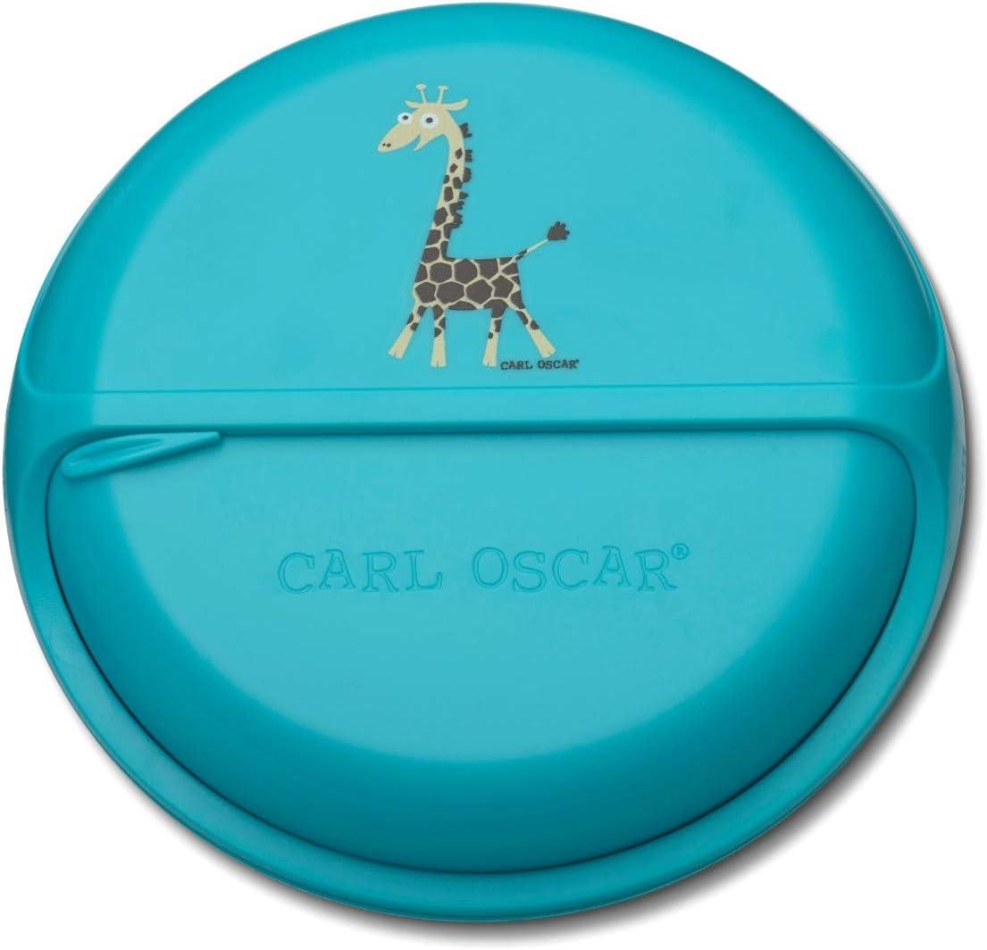 Carl Oscar SnackDisc – Caja de aperitivos giratoria con 5 compartimentos, pequeña fiambrera para aperitivos para niños, guardería, escuela, viajes (turquesa)