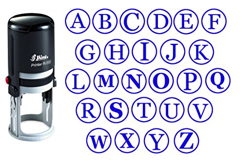 Custom A-Z Alphabet Stamp in Blue Ink Monogram Round Rubber Stamp Self Inking Initial Stamp SHINY Mini Stamper 20 mm ()