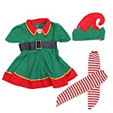 Christmas Costume Set Childrens Green Elf Festival Costume Cosplay Parent-child Costume Suit for Girls - Size 120CM (Green)