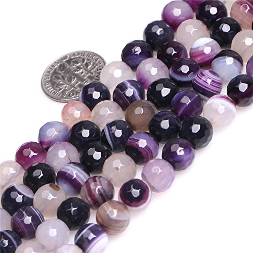 Stripe Purple Agate Beads for Jewelry Making Gemstone Semi Precious 8mm Round Faceted 15