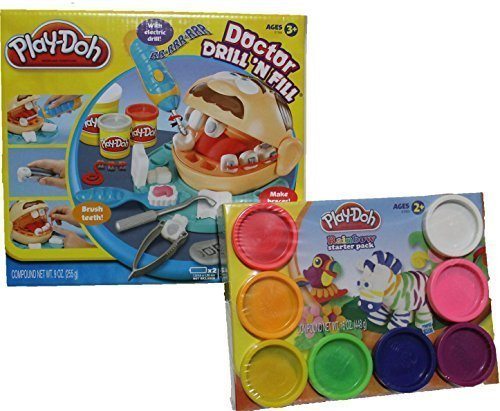 Variety of Mixed Play-Doh Colors and Doctor Drill N Fill Bundle Set for Creative Kid Play Dentist