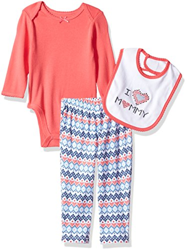 Best Beginnings Baby Girls' Printed Bodysuit Pant Set, Blue/Multi, 3M (Girl Beginnings)
