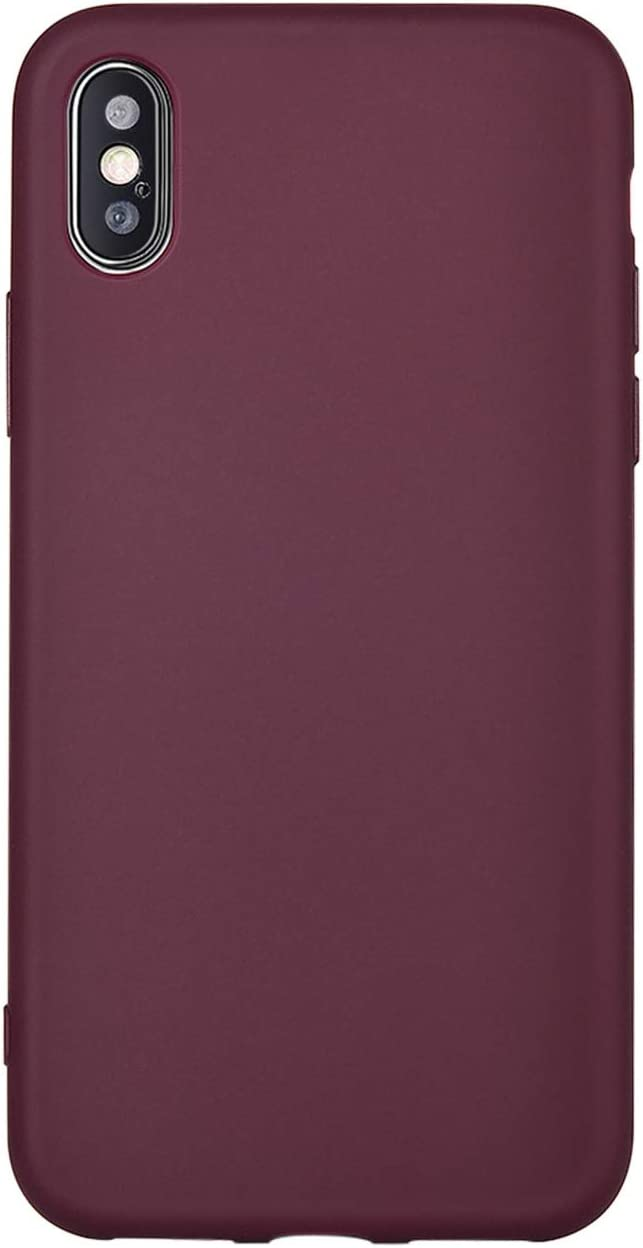 Manleno Compatible iPhone Xs Case,iPhone X Case Slim Fit Skin Feel Soft TPU Bumper Back Cover Case for iPhone X Xs 5.8 inch (Burgundy)