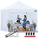 Eurmax 10×10 Ez Pop up Canopy Outdoor Canopy White Tent Package Deal + 4 Zipper End Walls + Roller Bag, Bonus 4 Canopy Sand Weights For Sale