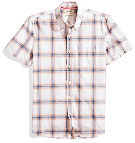 - Goodthreads Men's Standard-Fit Short-Sleeve Lightweight Madras Plaid Shirt, White/Orange Plaid, XX-Large
