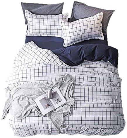 寝具布団カバー 3ピース寝具布団カバーセット白格子縞模様装飾ジッパーネクタイ1マイクロファイバー布団カバー2枕カバー、170×230センチ キルト掛け布団寝具セット