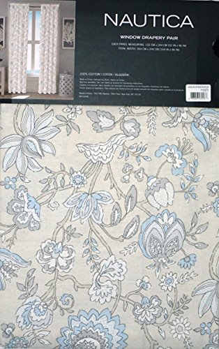 Nautica Pair of Window Curtains Drapery Panels Set of 2 Blue Tan Cream Gray Jacobean French Floral Pattern -- Crosslake -- 52 Inches by 96 Inches