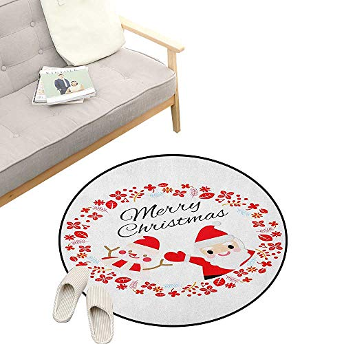 - Christmas Custom Round Carpet ,Merry Christmas Lettering Happy Day Santa Claus and Snowman Card Noel, Dorm Room Bedroom Home Decorative 23